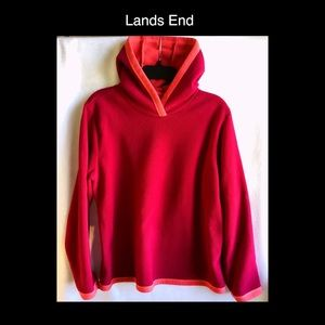 Lands End Medium Fleece Pink Hoodie